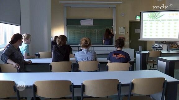 Schüler werden im Klassenzimmer über das Kiffen aufgeklärt.