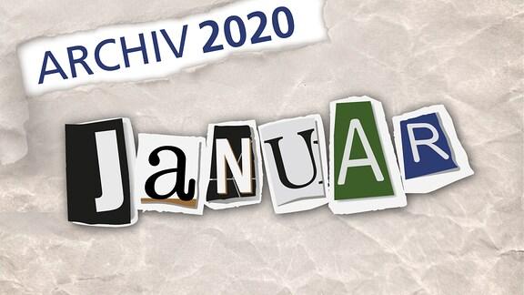 Herausgerissene Zeitungsbuchstaben zeigen das Wort Januar