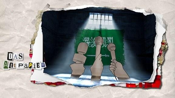 Teasergrafik zur Illustration der Medienkolumne Altpapier vom 11. Oktober 2018: In Saudi-Arabien sind mehrere Journalisten unter dubiosen Umständen inhaftiert