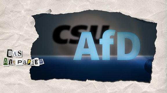 Teasergrafik Altpapier vom 15.10.2018 zur Illustration der Kritik an der CSU als Schatten der AfD nach der Landtagswahl in Bayern