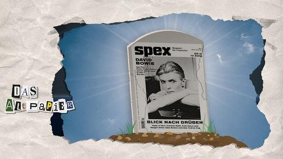 Teasergrafik zum Altpapier vom 16. Oktober 2018: Grabstein mit der Titelseite der Musikzeitschrift SPEX