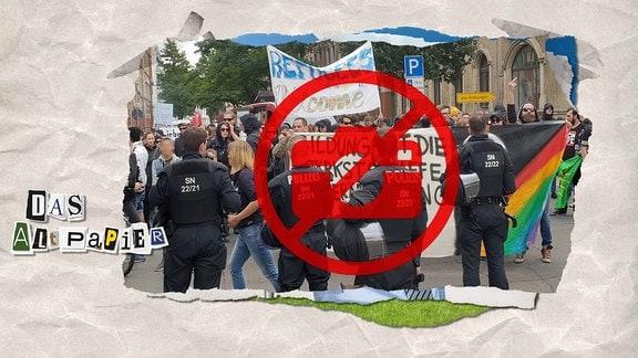 Teasergrafik zum Altpapier vom 24. Oktober 2018: Polizisten stehen vor Demonstranten. Darüber in rot ein durchgestrichener Fotoapparat.