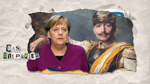 Teasergrafik zum Altpapier vom 30. Oktober 2018: Kaiser Wilhelm II. legt seinen Arm um Angela Merkel