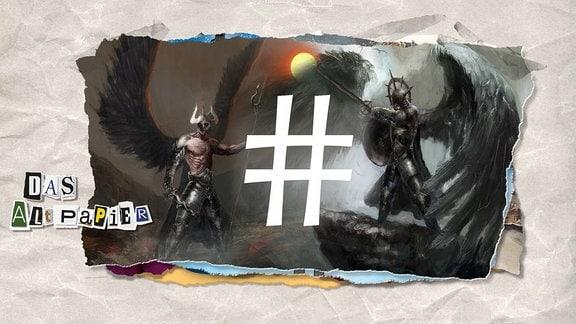 Teasergrafik zum Altpapier vom 01. November 2018: Die Ambivalenz des Hastags - Ein Hashtagsymbol in der Mitte, eine Teufelsgestalt links sowie eine Engelsgestalt rechts davon im Bild.