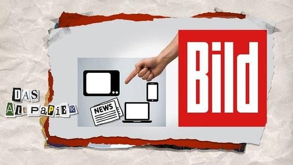 Logo der Bildzeitung zeigt mit dem Finger auf Icons verschiedener Medien