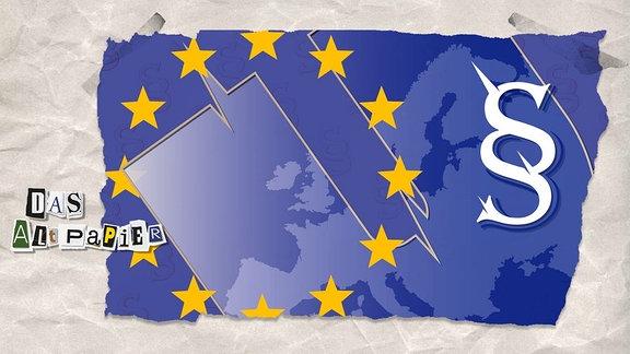 EU-Flagge mit einem großen U sowie ein Paragrafenzeichen. Im Hintergrund Kartenausschnitt von Europa.