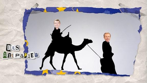 Jörg Schönenborn sitzt auf einem Kamel, Tom Buhrow führt dieses an der Leine.