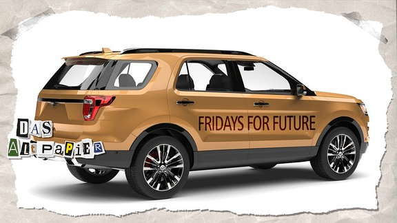 "SUV mit Aufschrift ""friday for future"""