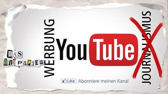 """Youtube-Logo mit Schrift """"Journalismus"""" und """"Werbung"""""""