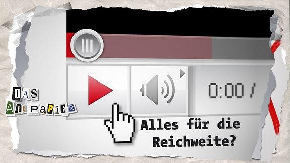 """YouTube - Play-Button mit Cursor-hand und Schrift """"Alles für die Reichweite?"""""""