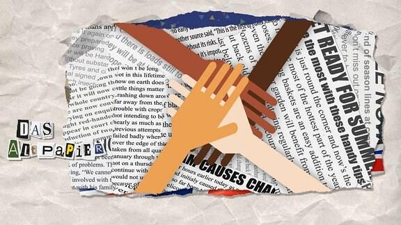 Auf einer Zeitung kreuzen sich verschieden farbige Hände.