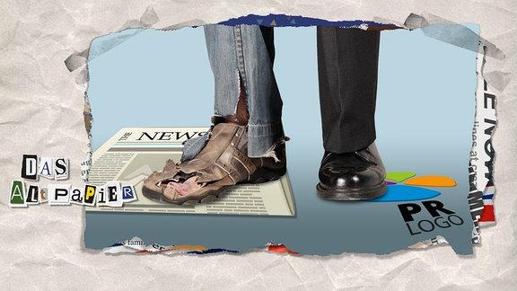 Ein löchriger Schuh steht auf einer Zeitung, ein glänzender schwarzer Schuh auf einem Logo.