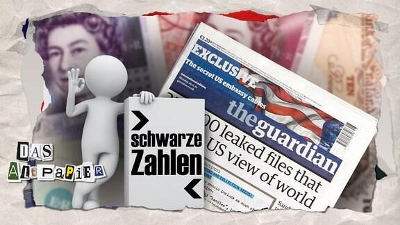 """Collage zur Medienkolumne Das Altpapier vom 03.05.2019: Zeitung """"The Guardian"""" auf Pfundnoten mit einem jubelnden Cartoonmännchen mit der Aufschrift """"schwarze Zahlen"""""""