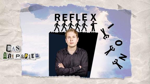 """Collage zur Medienkolumne Das Altpapier vom 06.05.2019: Kevin Kühnert vor einer Steilküste auf der das Wort """"Reflexion"""" abstürzt"""