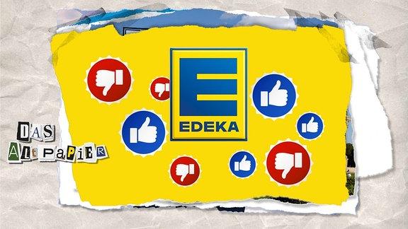 Collage zur Medienkolumne Das Altpapier vom 10. Mai 2019: Edeka-Logo mit vielen Daumen, die nach oben und unten zeigen