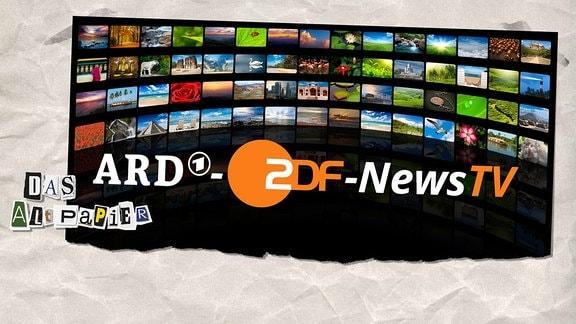 """Collage zur Medienkolumne Das Altpapier vom 13. Mai 2019:  Wand mit TV-Monitoren davor Schrift """"ARD-ZDF-NewsTV"""""""