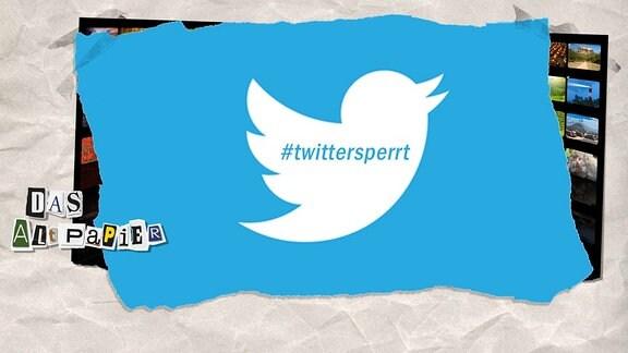Collage zur Medienkolumne Das Altpapier vom 14. Mai 2019: Twitter-Vogel mit #twittersperrt