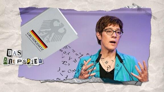 Teasergrafik Altpapier vom 28.5.2019: Annegret Kramp-Karrenbauer spricht und neben ihr löst sich das Grundgesetz in seine Buchstaben auf
