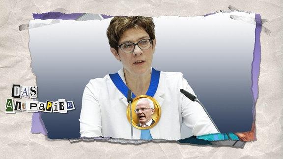Altpapier-Grafik vom 29. Mai 2019: Annegret Kramp-Karrenbauer trägt eine goldene Medaille um den Hals mit dem Gesicht des ehemaligen Forschungsminister Jürgen Rüttgers darauf