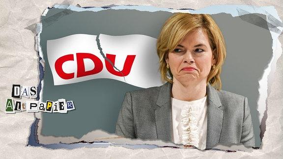 Teasergrafik Altpapier vom 7. Juni 2019: Julia Klöckner guckt angesäuert vor zerreißendem CDU-Banner