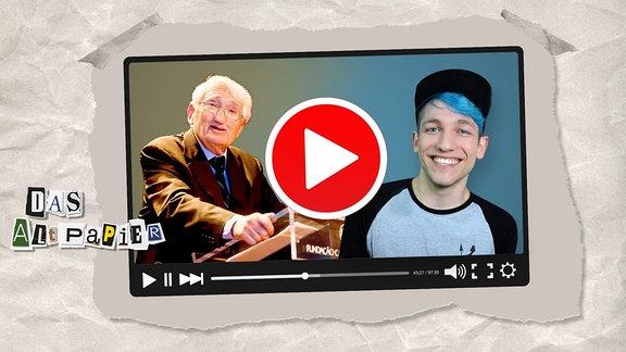 Teasergrafik Altpapier vom 17. Juni 2019: Jürgen Habermas und Rezo in TV mit Youtube-Symbol