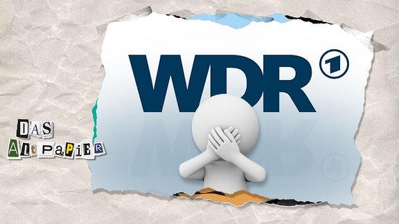 Teasergrafik Altpapier vom 10. Juli 2019: WDR-Logo sowie Figur mit Händen vor dem Mund.