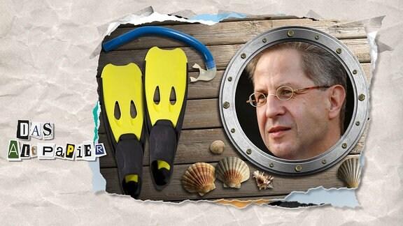Teasergrafik Altpapier vom 11. Juli 2019: Hans-Georg Maaßen im Bullauge , Standmuscheln und Schwimmflossen (Sommerloch)