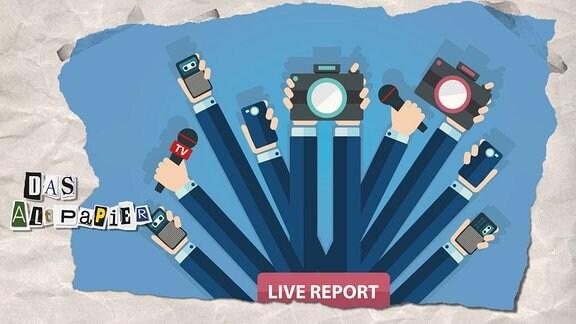Teasergrafik Altpapier vom 12. Juli 2019: Viele Hände mit Handys, Kameras, Diktiergeräten und Fotoapparaten.
