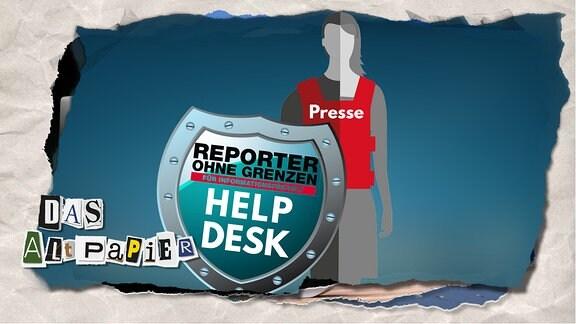 """Teasergrafik Altpapier vom 18. Juli 2019: Presse-Person hält Abwehrschild mit der Aufschrift """"Reporter ohne Grenzen - für Informationsfreiheit - Help Desk""""."""