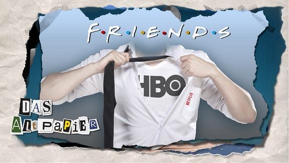Teasergrafik Altpapier vom 19. Juli 2019: Unter einem Hemd mit Netflix-Logo ist ein T-Shirt mit HBO-Logo sichtbar. Darüber steht das Logo der Serie Friends.