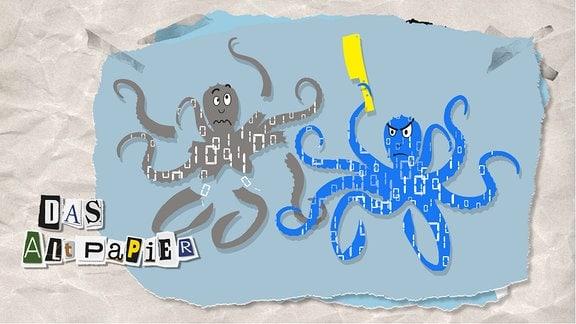 Teasergrafik Altpapier vom 23. Juli 2019: Eine blaue Krake schneidet mit einem Küchenmesser einer anderen Krake die Arme ab. Die Kraken stehen symbolisch für Datenkraken.