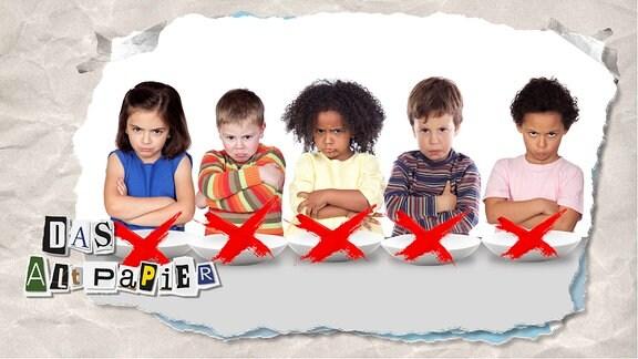 Teasergrafik Altpapier vom 24. Juli 2019: Fünf Kinder schauen böse. Vor ihnen stehen jeweils leere, mit einem roten Kreuz durchgestrichene Teller.