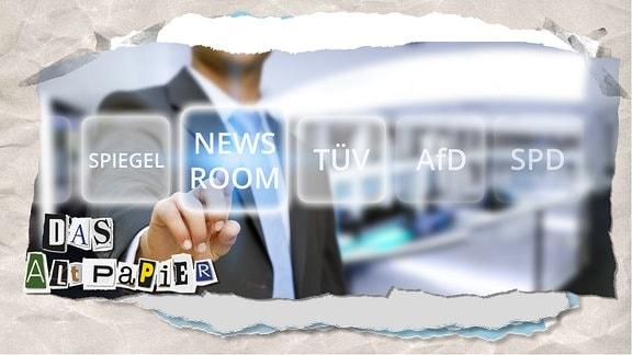 """Teasergrafik Altpapier vom 25. Juli 2019: Mann tipp auf Button """"Newsroom"""""""