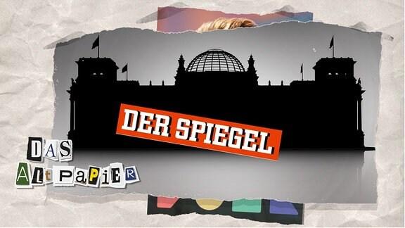 """Teasergrafik Altpapier vom 30. Juli 2019:  Silhouette des Berliner Reichtags mit Logo """"Der Spiegel"""""""