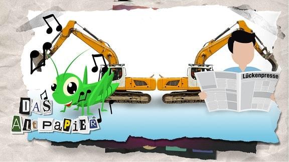 """Teasergrafik Altpapier vom 01. August 2019: Auf der linken Seite ist ein singender Grashüpfer zu sehen. Auf der Rechten Seite ist ein abstrahierter Mensch abgebildet, der Zeitung liest. Auf der Zeitung steht: """"Lückenpresse"""". Dazwischen stehen zwei Bagger."""