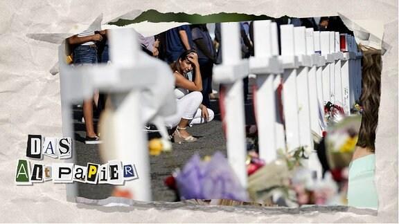 Teasergrafik Altpapier vom 07. August 2019: trauernde Frau an Denkmal in El Paso