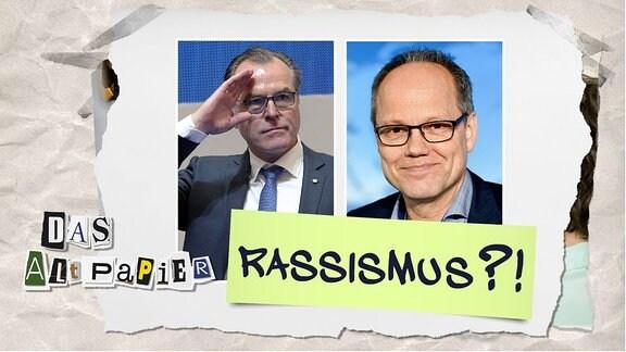 """Teasergrafik Altpapier vom 08. August 2019: Kai Gniffe und Clemes Tönnies mit Schriftzug """"Rassismus?!"""""""