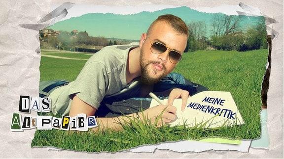 """Teasergrafik Altpapier vom 09. August 2019: Ein Mann liegt auf dem Rasen und schreibt in ein Notizbuch: """"Meine Medienkritik"""". Auf seinem Hals wurde der Kopf von Kollegah montiert."""