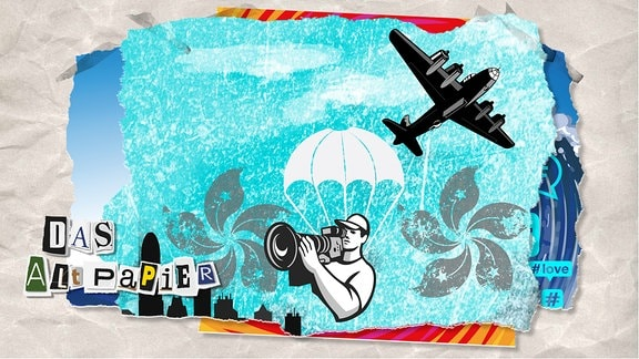 Teasergrafik Altpapier vom 14. August 2019: Fallschirmspringer mit Kamera