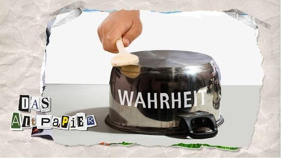 """Teasergrafik zum Altpapier vom 22. August 2019: Topfschlagen auf Topf mit Schrift """"Wahrheit"""""""