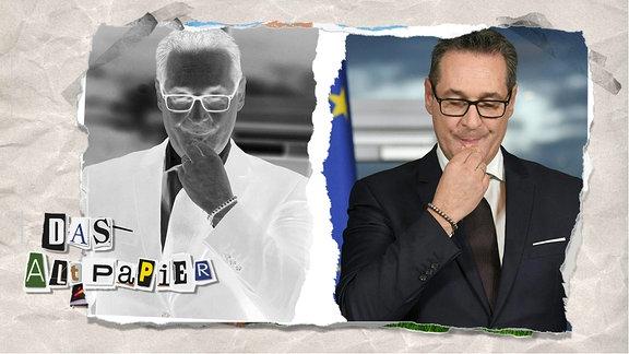 Teasergrafik zum Altpapier vom 23. August 2019: Heinz-Christian Strache in Farbe und im Negativ