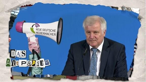 """Das Altpapier am 29. August 2019: Megaphon mit Aufschrift """"Neue deutsche Medienmacher"""" zu Horst Seehofer"""