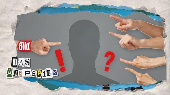 Altpapier Teasergrafik am 6. September 2019: Ein Finger mit dem Bild-Logo zeigt auf eine Siluette, dahinter steht ein Ausrufezeichen, Andere Finger zeigen auf die gleiche Siluette, dahinter steht ein Fragezeichen