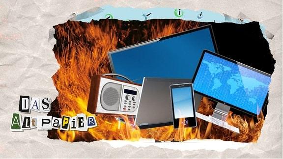 Flammen umgeben technische Medienabspielgeräte wie Fernseher, Radios, Tablets