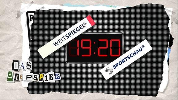 Uhrzeit 19:20 Uhr wird angezeigt. Darüber sind Logos des Weltspiegels sowie der Sportschau gesetzt.
