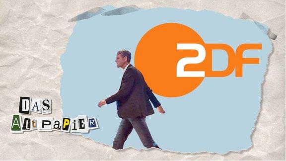 Teasergrafik Altpapier vom 16. September 2019: Laufender Björn Höcke vor ZDF Kogo
