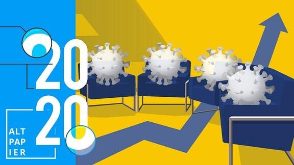 Auf vier Sesseln ist jeweils ein Coronavirus gesetzt. Im Hintergrund geht ein Pfeil nach oben.