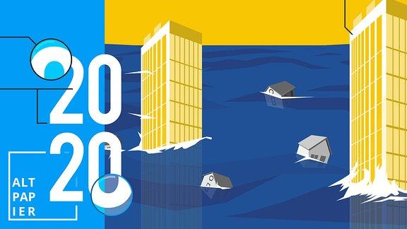 Stadt ist mit Wasser überflutet. Nur zwei Hochhäuser ragen über den Wasserspiegel hinaus.