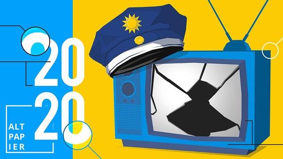 Polizeimütze auf Fernsehapparat mit eingeschlagenem Bildschirm.