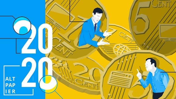 Euromünzen mit Symbolen für Fernseher, Radio und Internet. Außerdem zwei stilisierte Personen mit Gesten, die auf einen Disput verweisen.